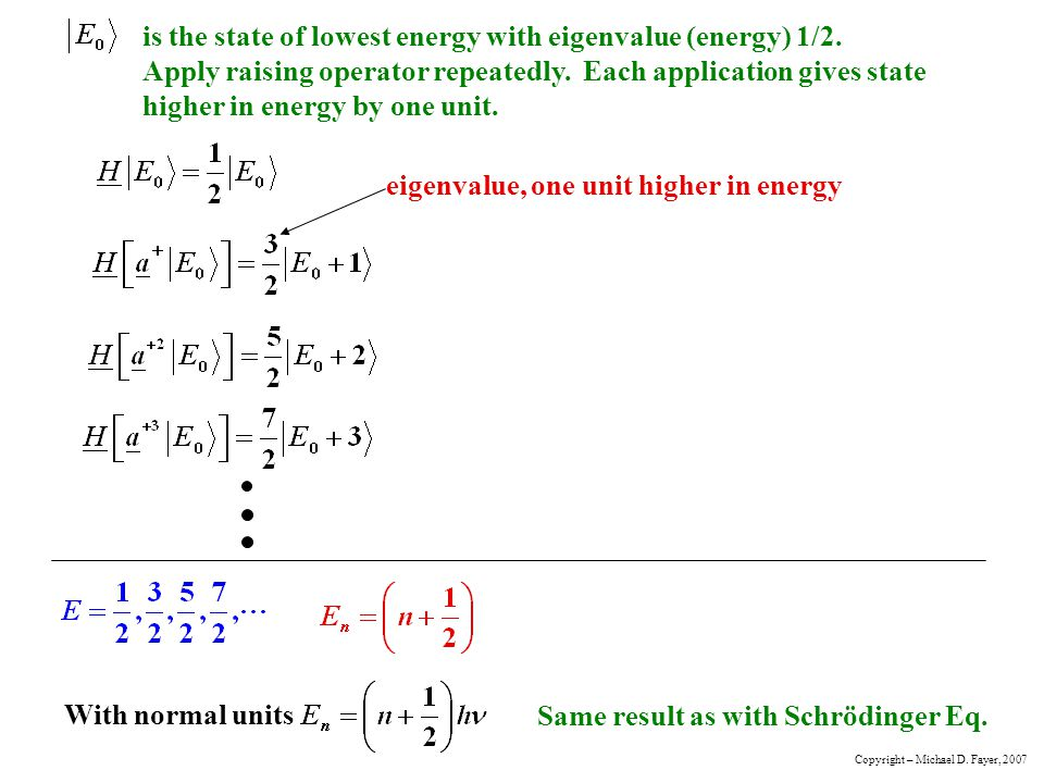 eigenvalue, one unit higher in energy
