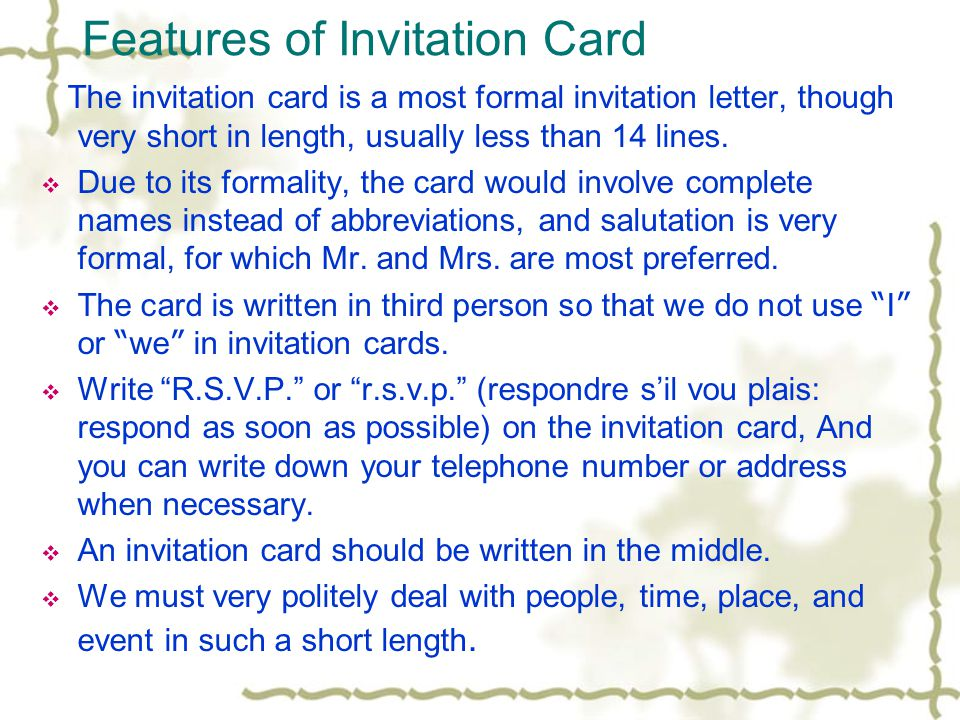 Invitation Letters Cards Ppt Download