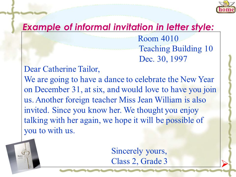 example of informal invitation in letter style