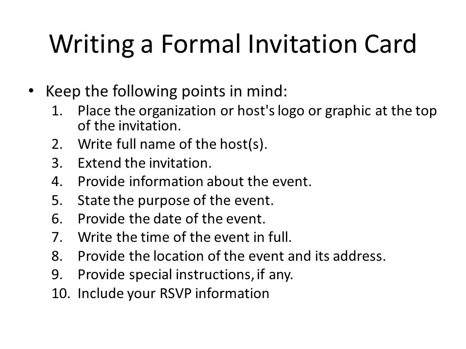 Writing a Formal Invitation Card