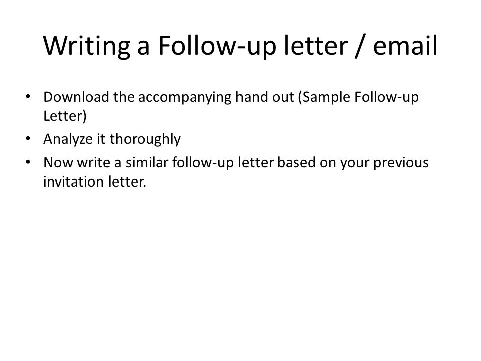 Writing a Follow-up letter /