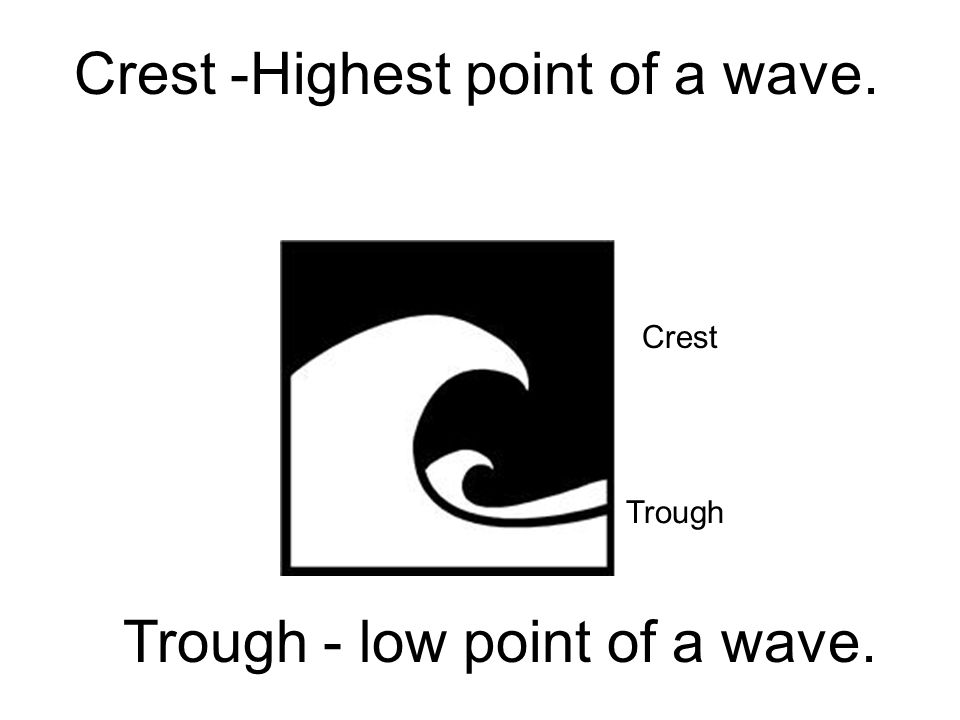 Crest -Highest point of a wave.