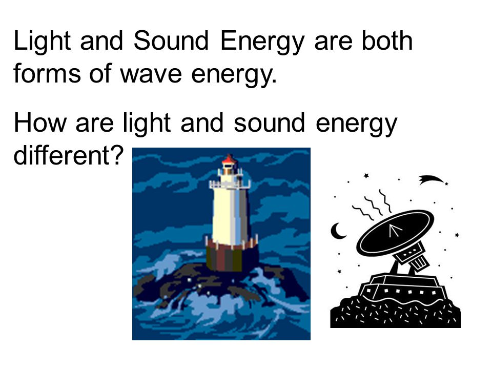 Light and Sound Energy are both forms of wave energy.