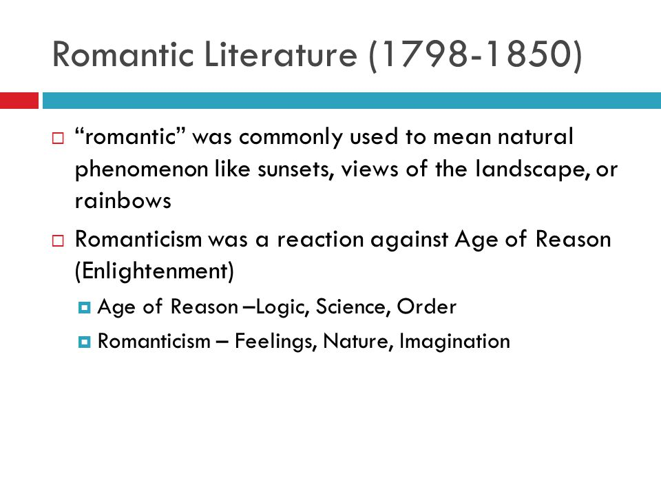 Romanticism literature elements