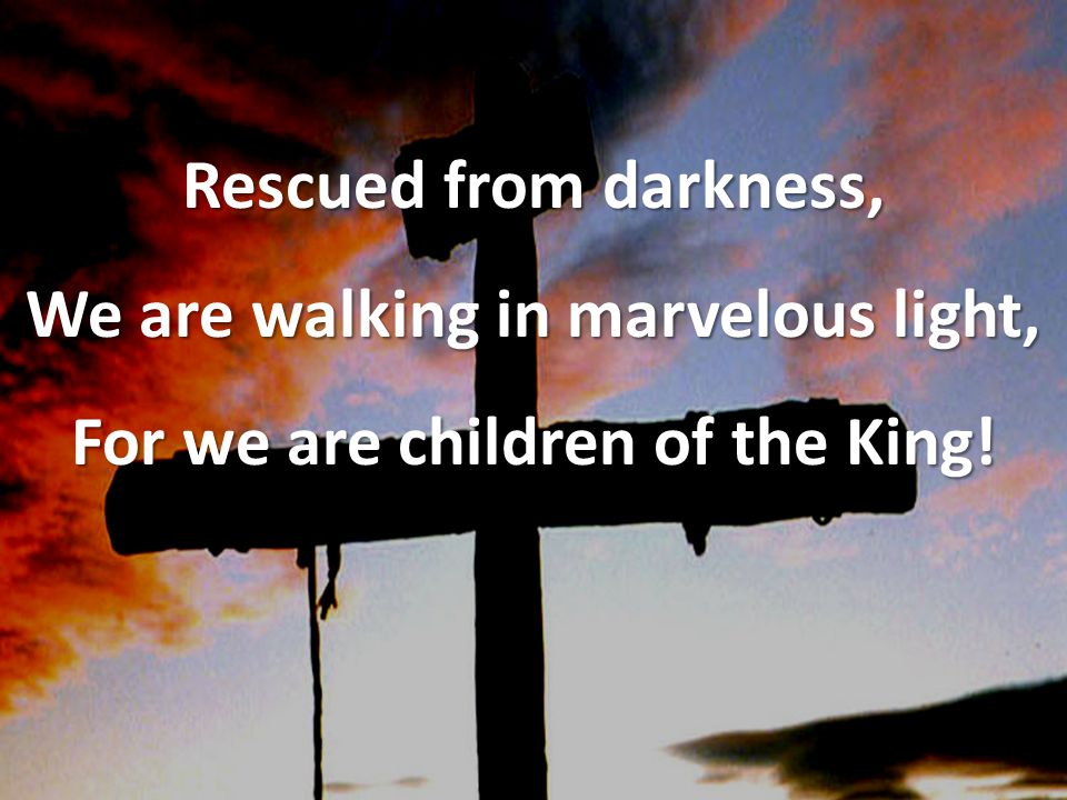 Rescued from darkness, We are walking in marvelous light, For we are children of the King!