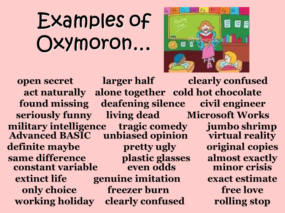 Oxymorons Examples Choice Image Example Cover Letter For Resume