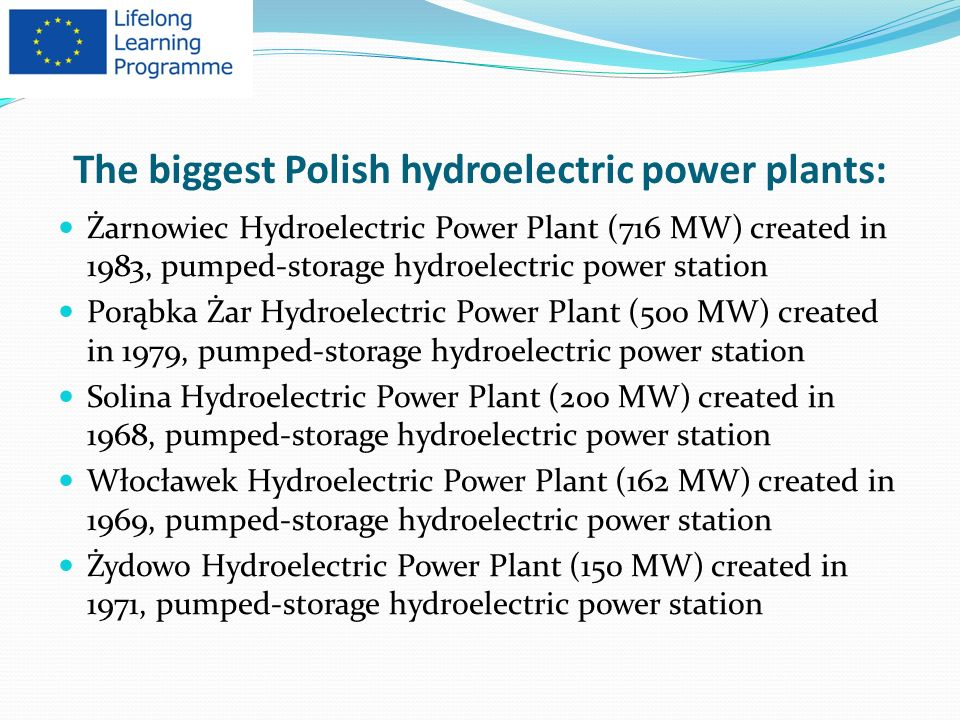 The biggest Polish hydroelectric power plants: