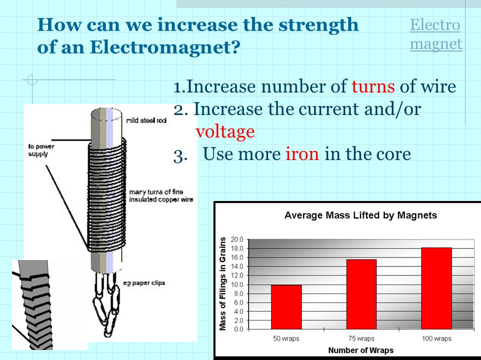 How can we increase the strength of an Electromagnet