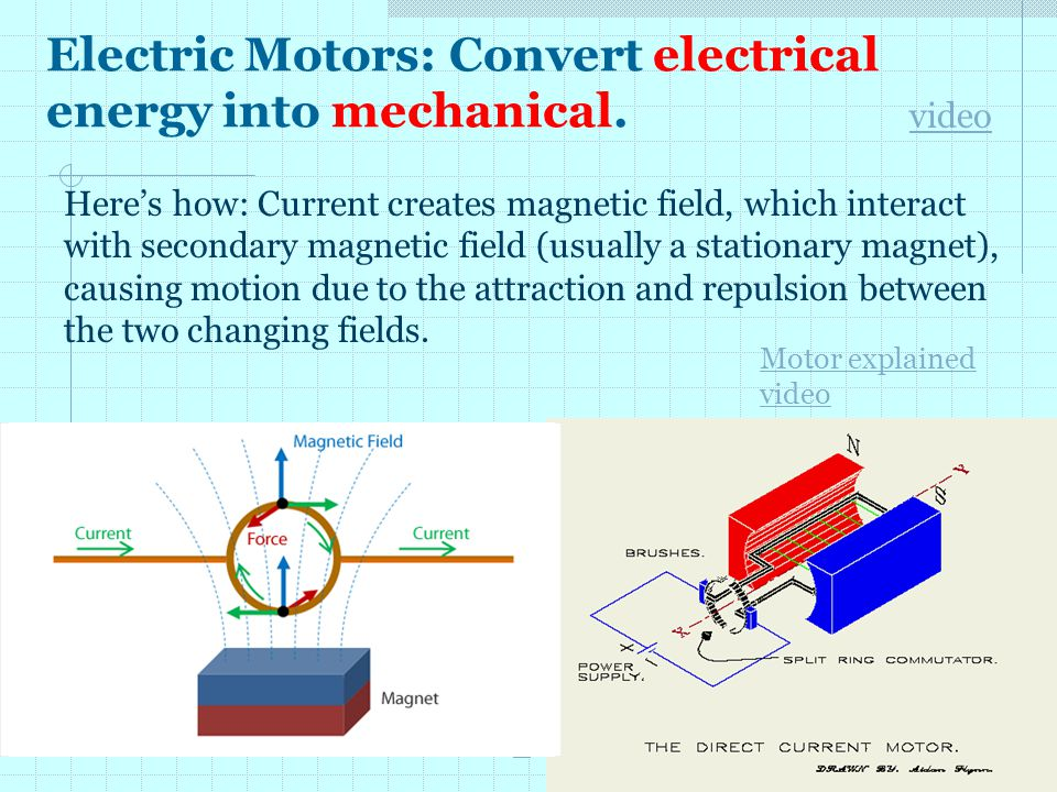 Electric Motors: Convert electrical energy into mechanical.