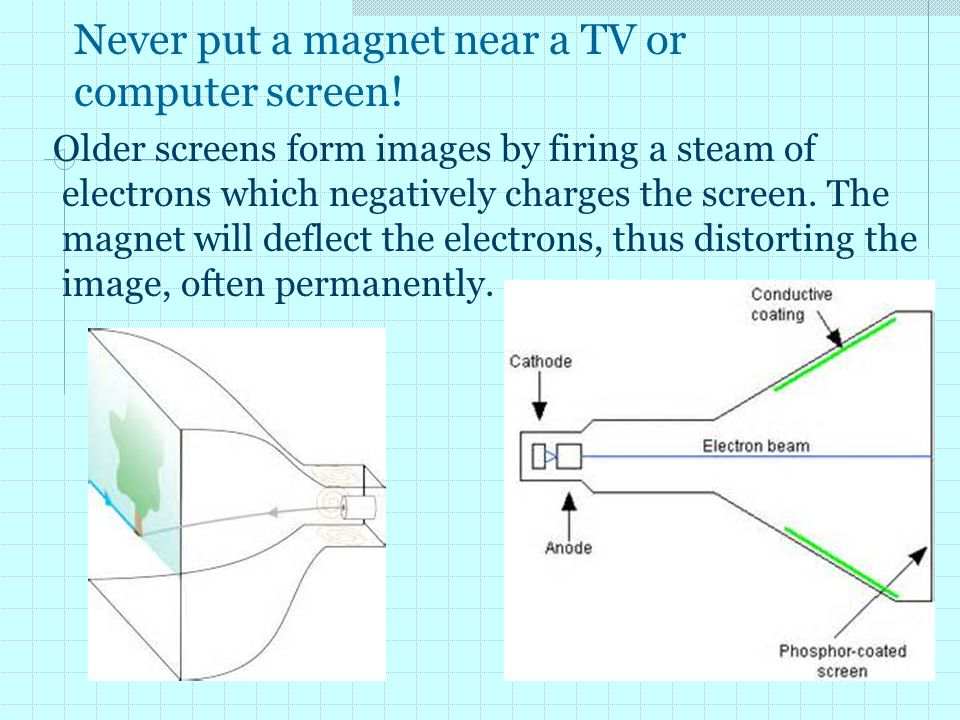 Never put a magnet near a TV or computer screen!