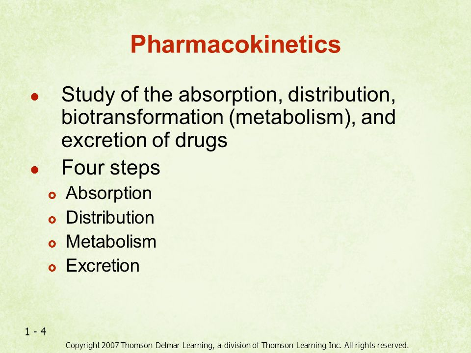 Pharmacokinetics Study of the absorption, distribution, biotransformation (metabolism), and excretion of drugs.