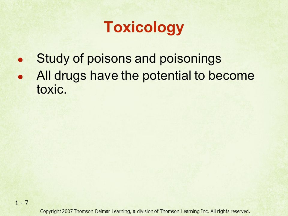 Toxicology Study of poisons and poisonings