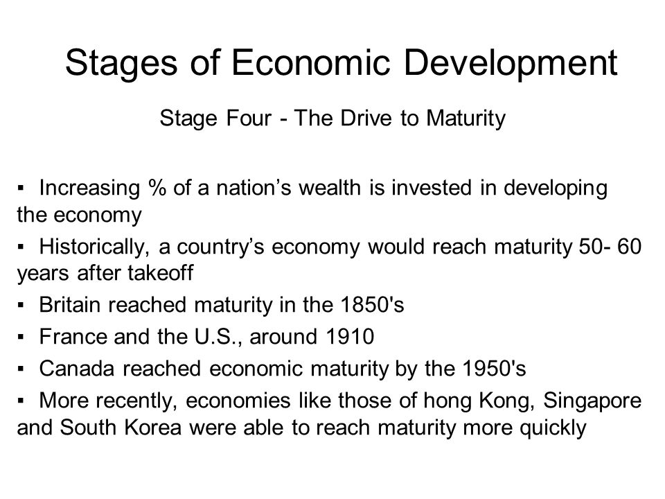 four stages of economic development