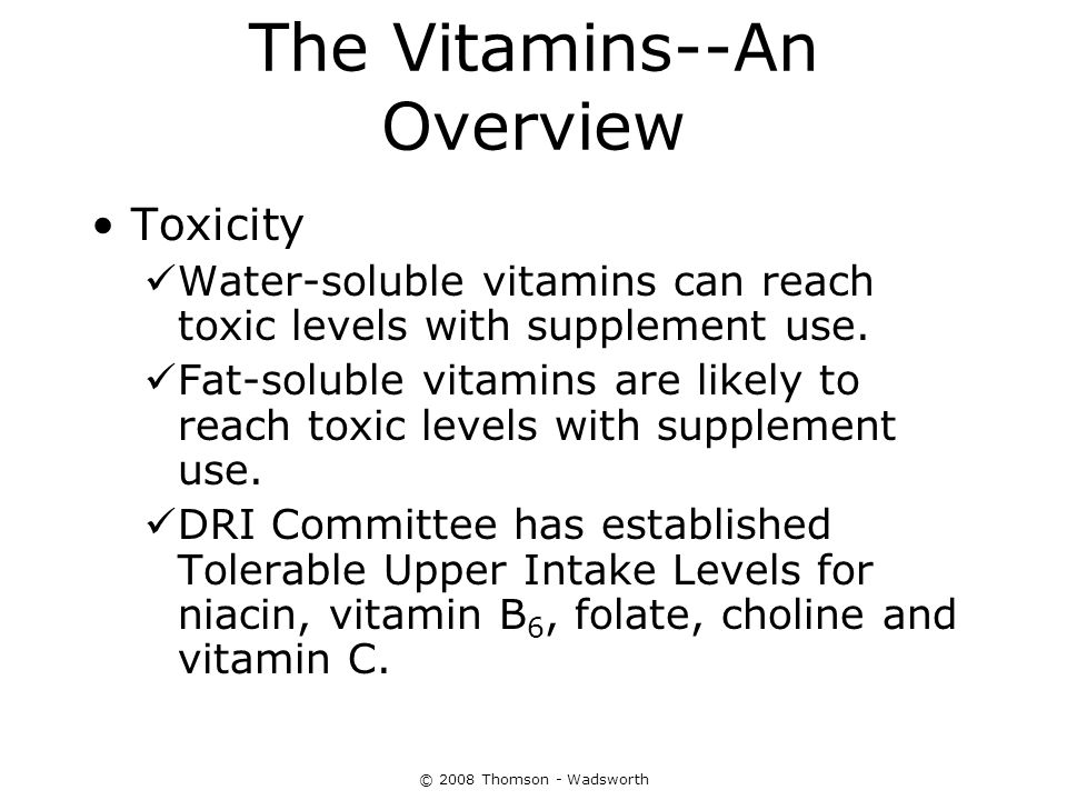 The Water-Soluble Vitamins: B Vitamins and Vitamin C - ppt