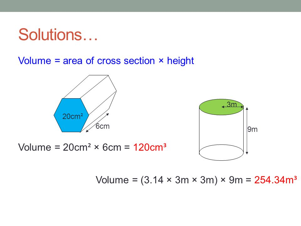 Volume Of Prisms And Cylinders Ppt Video Online Download. Volume Area Of Cross Section Height. Worksheet. Worksheet On Volume By Cross Sections At Clickcart.co