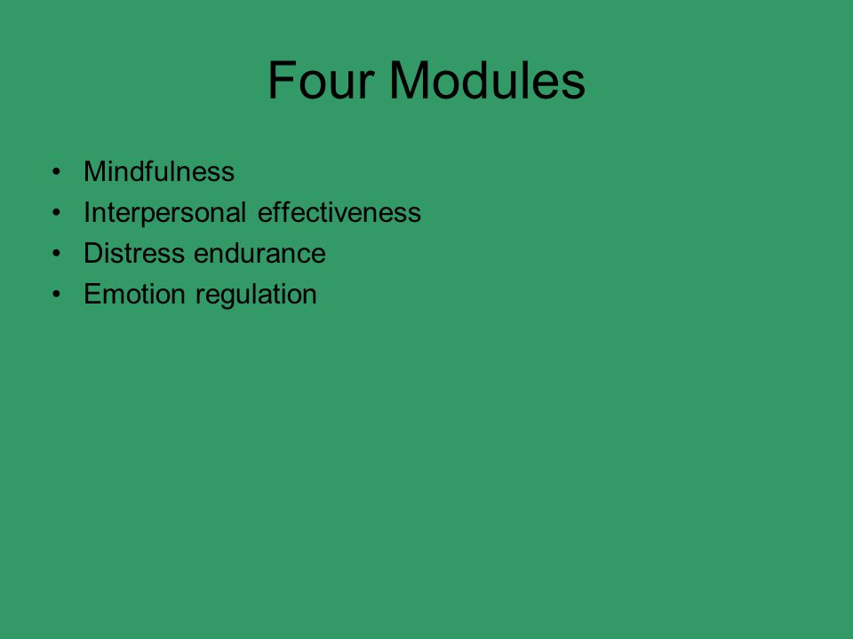 Four Modules Mindfulness Interpersonal effectiveness