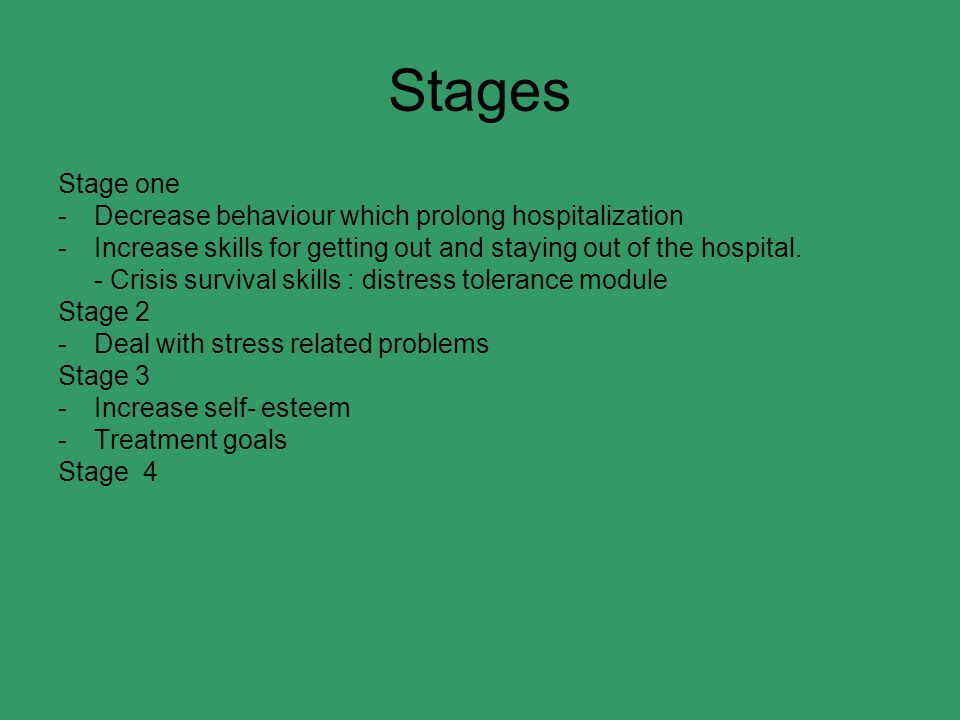 Stages Stage one Decrease behaviour which prolong hospitalization