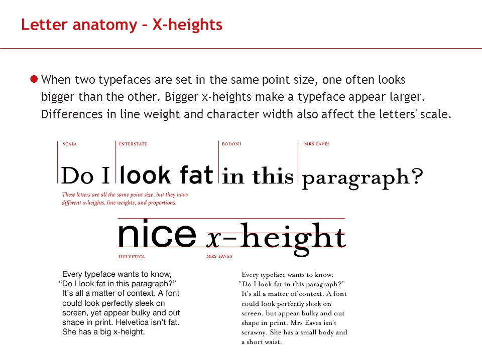 Letter Anatomy X Heights