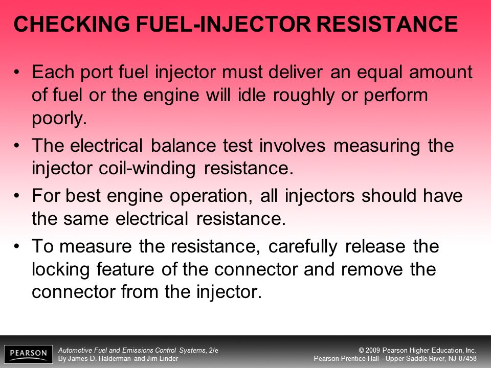 CHECKING FUEL-INJECTOR RESISTANCE
