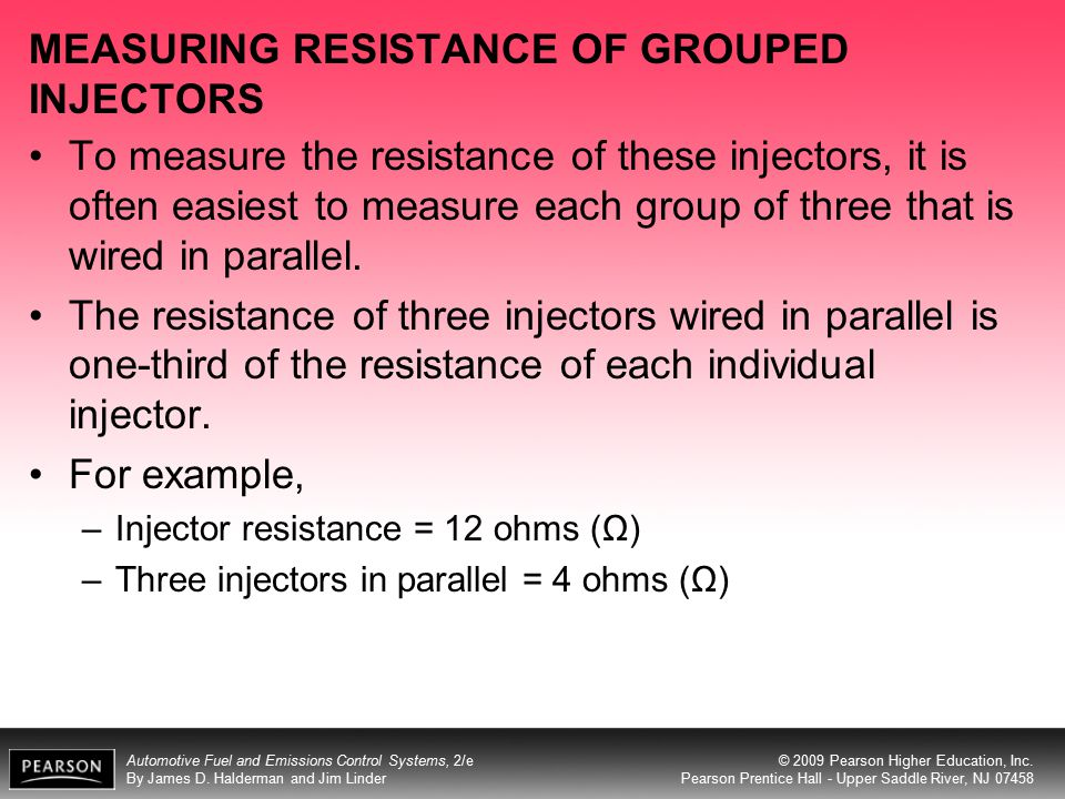 MEASURING RESISTANCE OF GROUPED INJECTORS