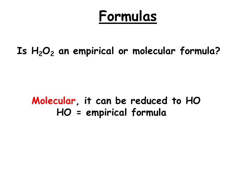 Percent Composition Empirical Formulas Molecular Formulas