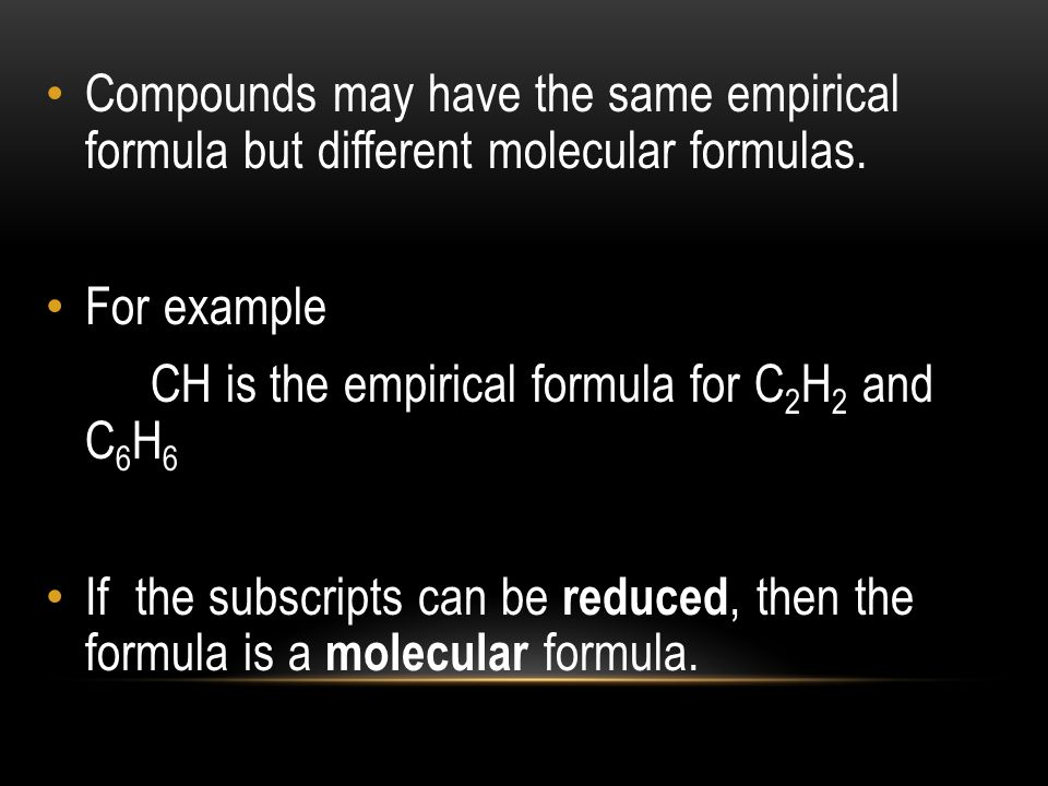 Compounds may have the same empirical formula but different molecular formulas.
