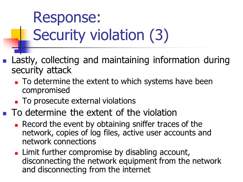 Response: Security violation (3)
