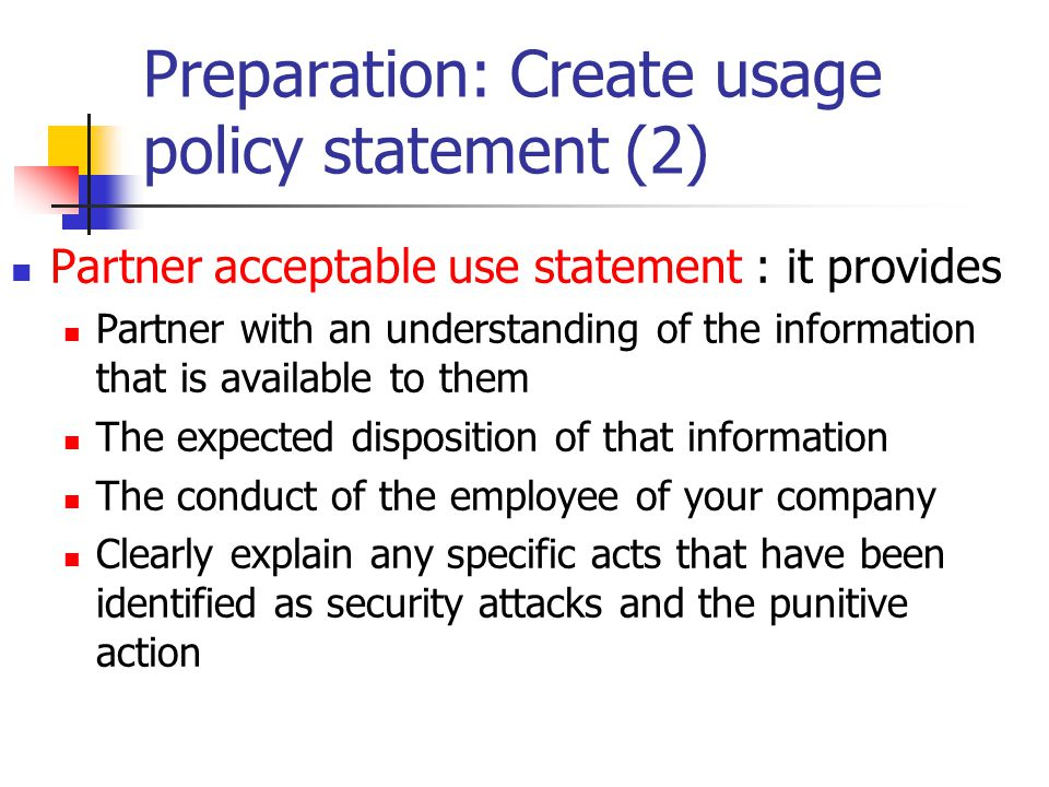 Preparation: Create usage policy statement (2)