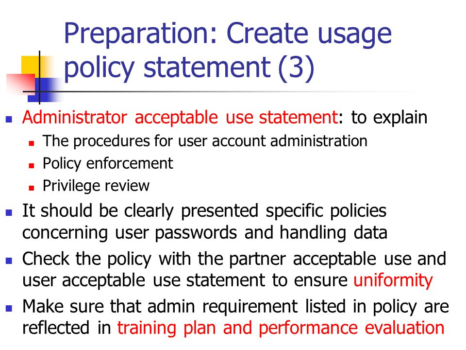 Preparation: Create usage policy statement (3)