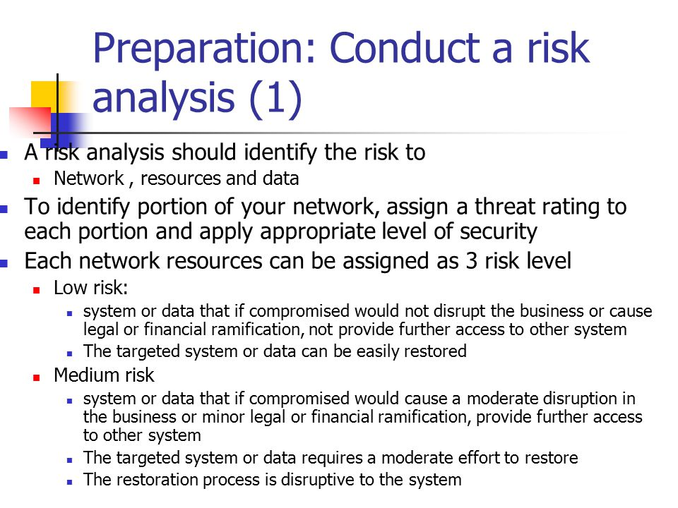Preparation: Conduct a risk analysis (1)