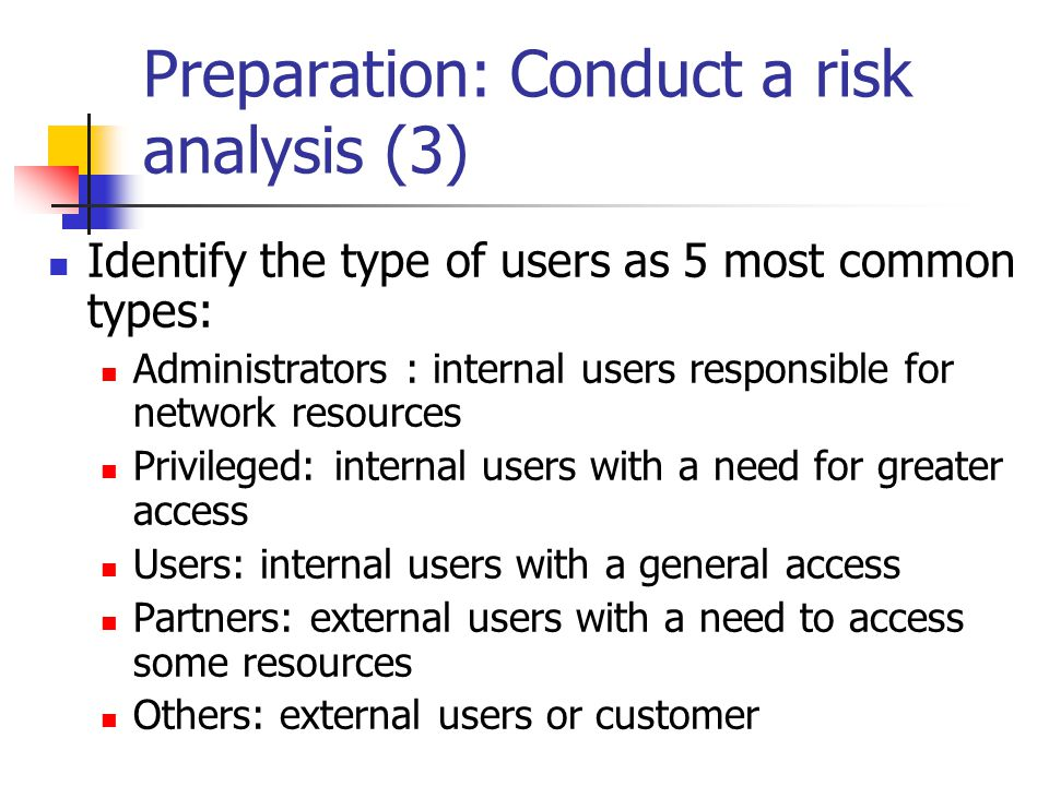 Preparation: Conduct a risk analysis (3)