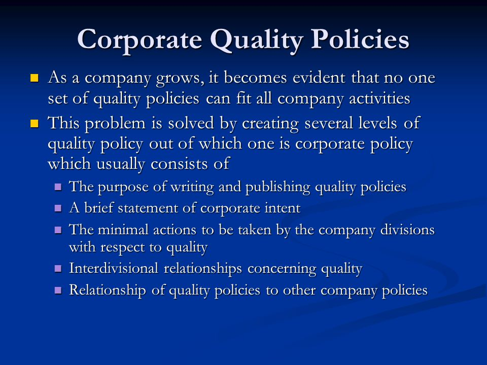 Corporate Quality Policies