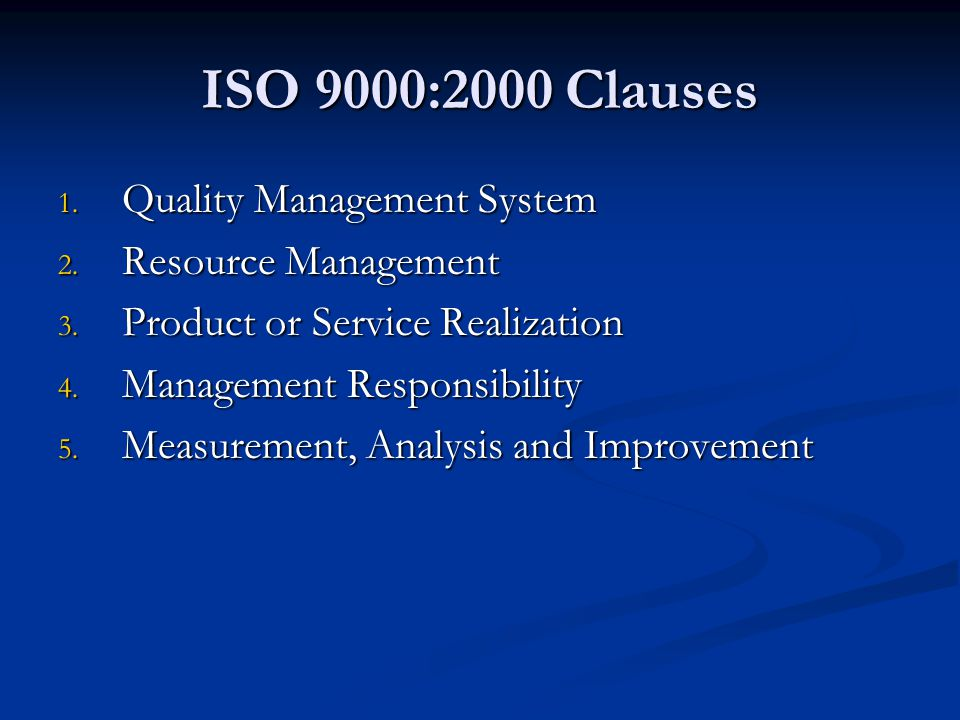 ISO 9000:2000 Clauses Quality Management System Resource Management
