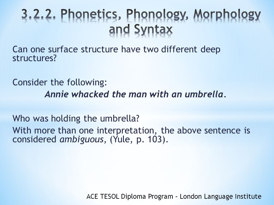 Phonetics, Phonology, Morphology and Syntax