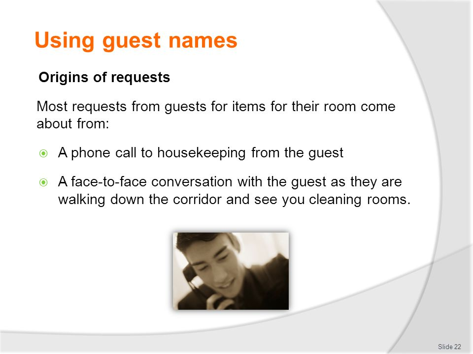 Using guest names Origins of requests
