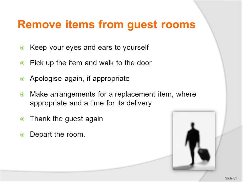 Remove items from guest rooms