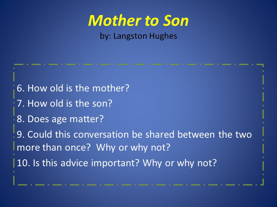 what is mother to son about