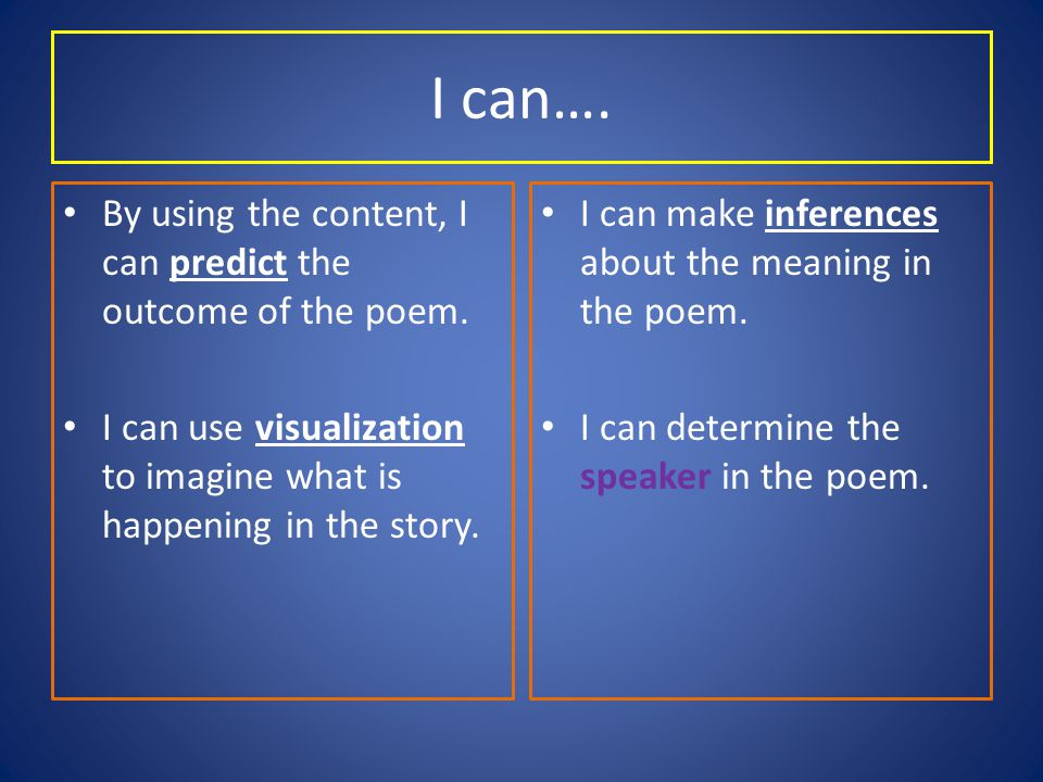 I can…. By using the content, I can predict the outcome of the poem.