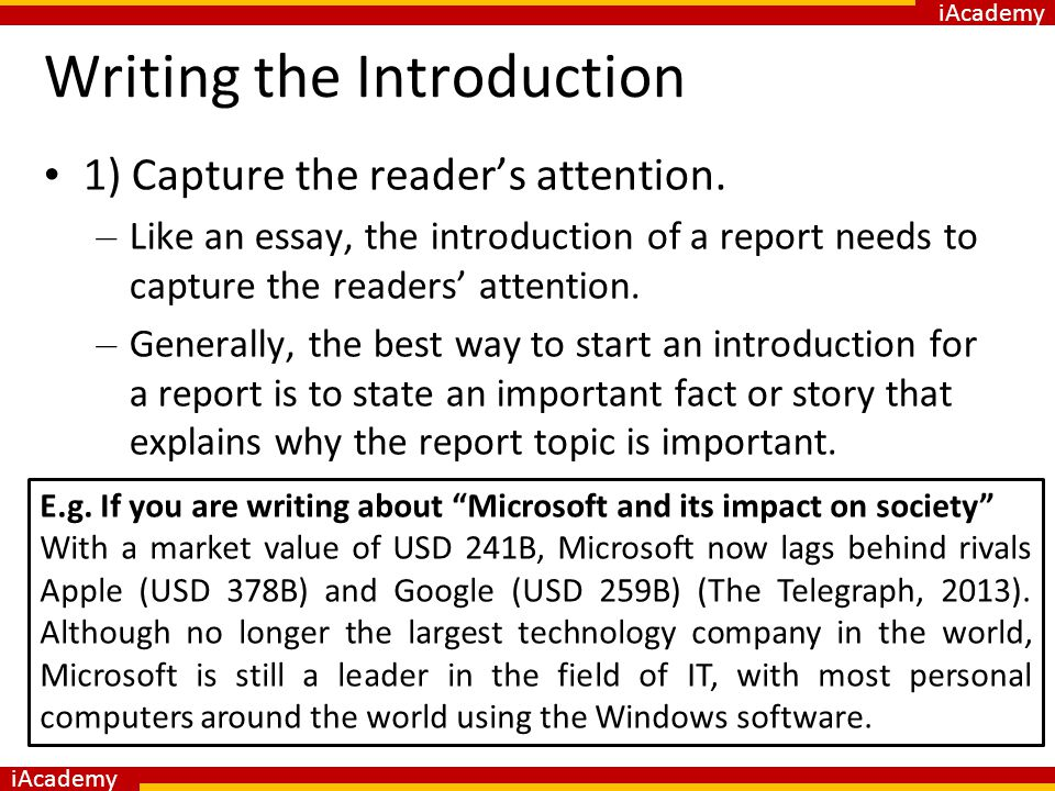 how to start a report introduction
