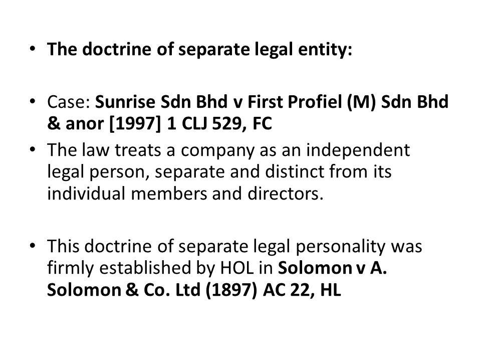 separate legal personality cases