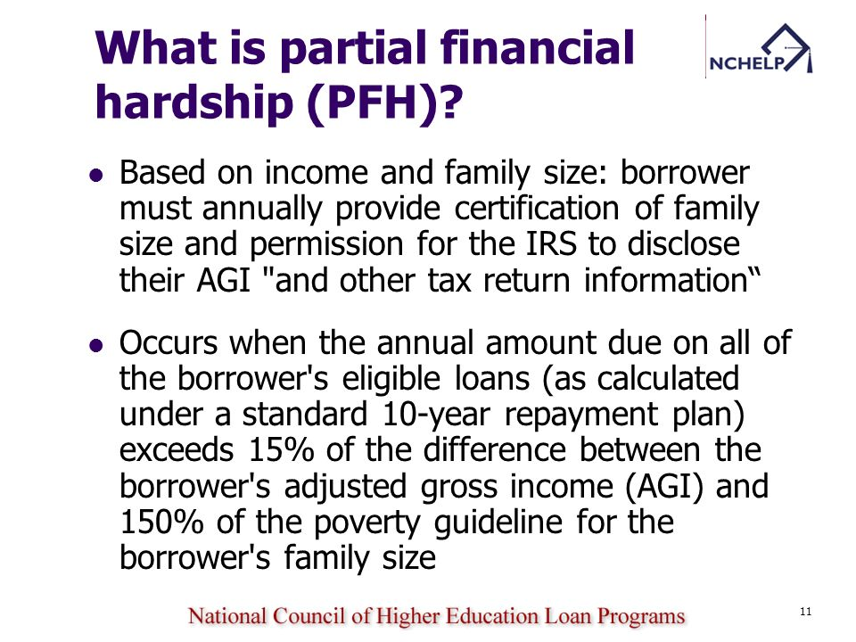 What is partial financial hardship (PFH)