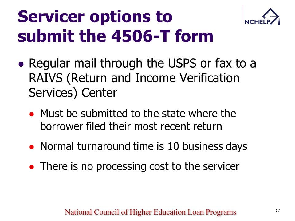 Servicer options to submit the 4506-T form