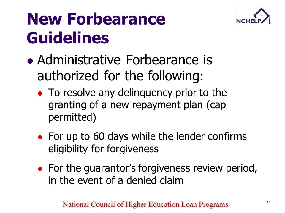 New Forbearance Guidelines