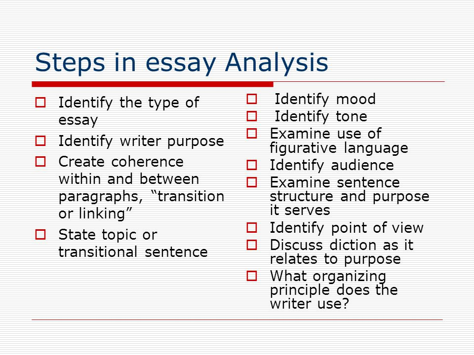 Steps in essay Analysis