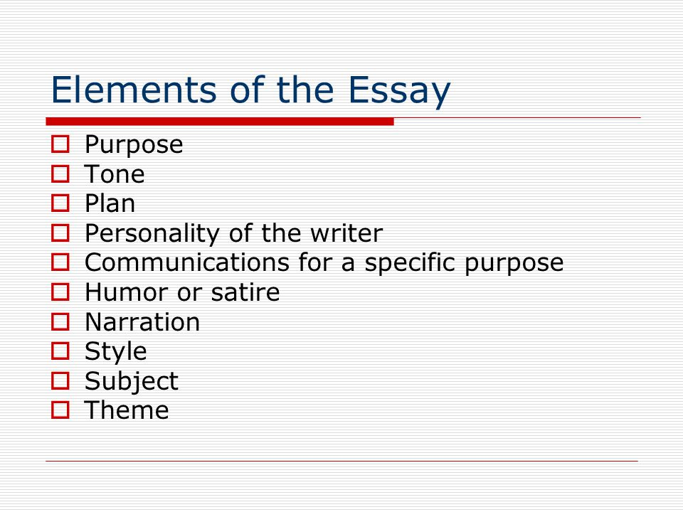 High School Entrance Essays Elements Of The Essay Purpose Tone Plan Personality Of The Writer Obesity Essay Thesis also Research Proposal Essay Topics Essay Writing Elements Of The Essay  Ppt Download Good Health Essay