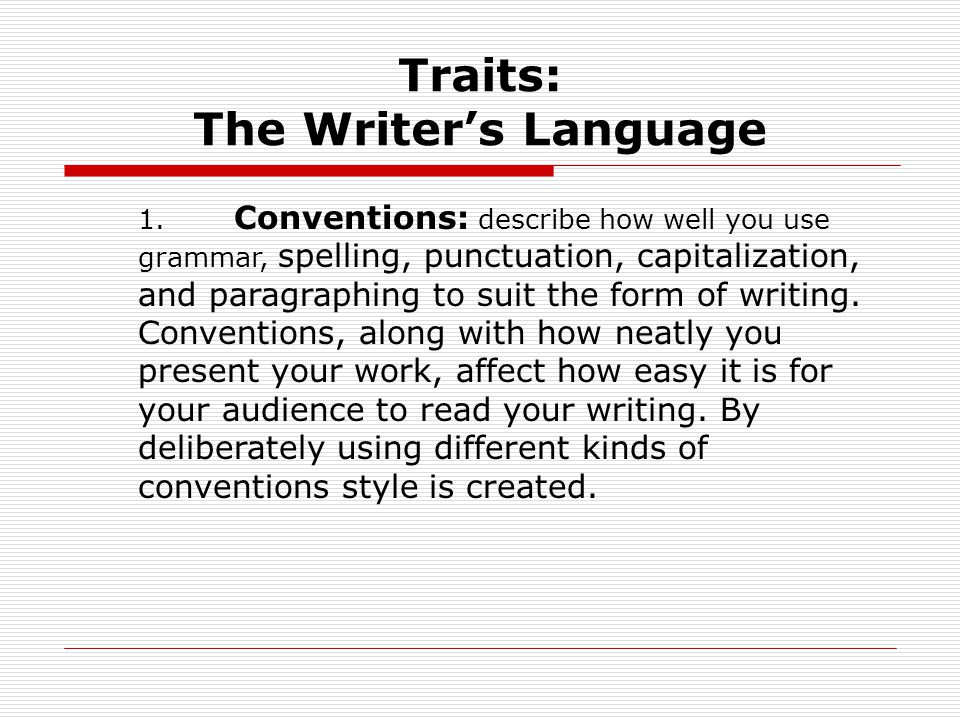 Traits: The Writer's Language