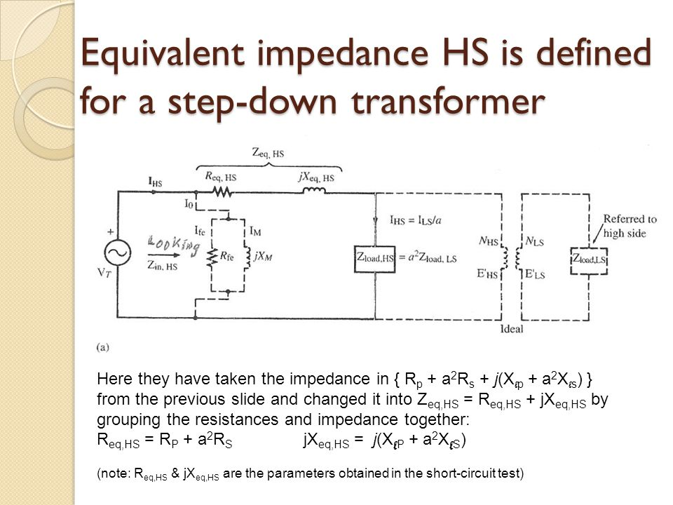 equivalent impedance hs is defined for a step-down transformer