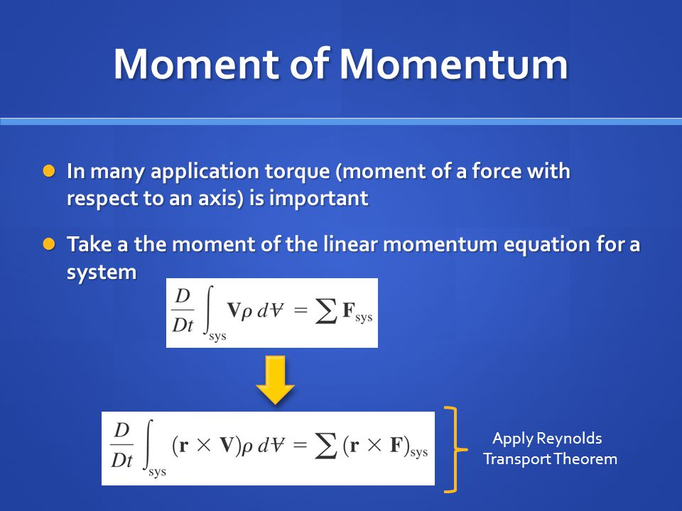 Moment of Momentum In many application torque (moment of a force with respect to an axis) is important.