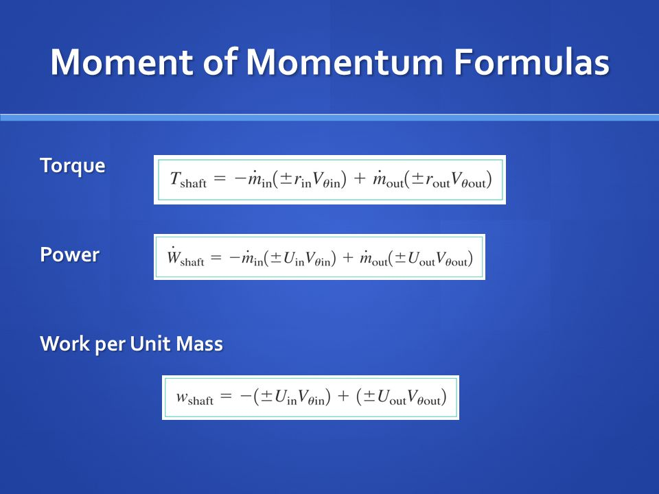Moment of Momentum Formulas