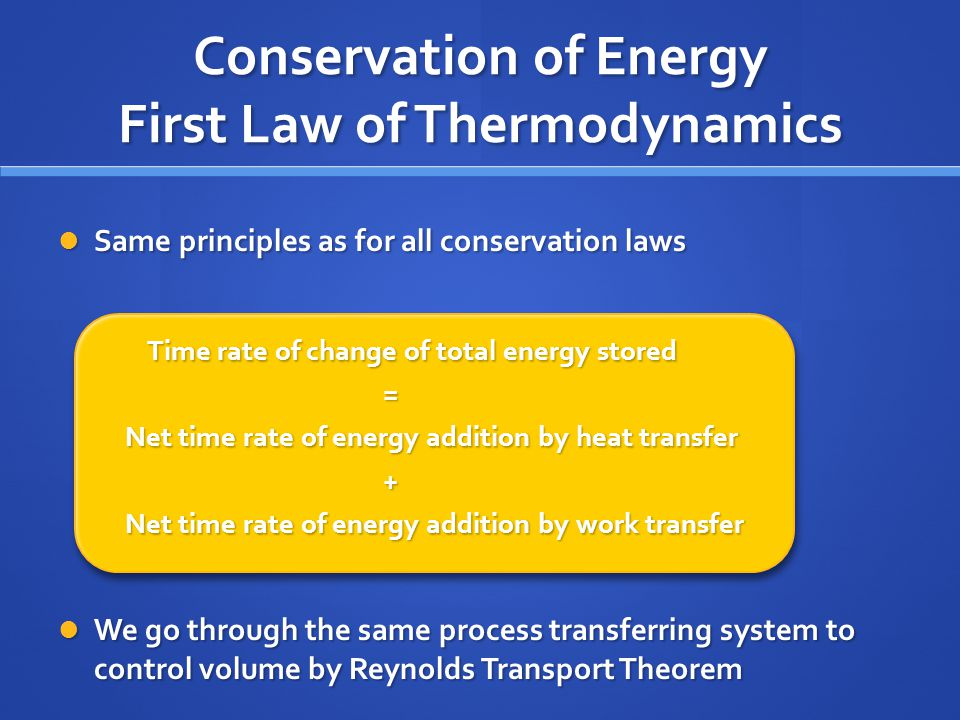 Conservation of Energy First Law of Thermodynamics